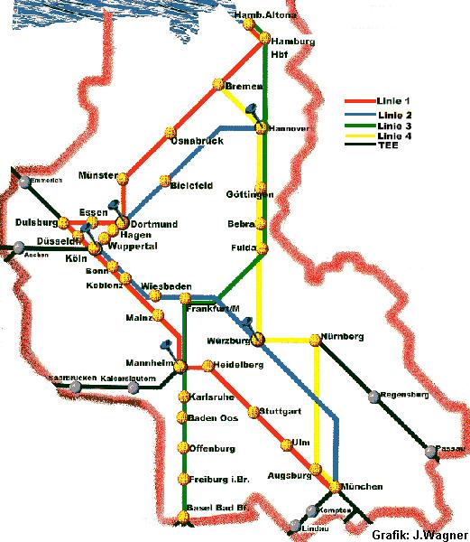 Karte der IC 71 Linien